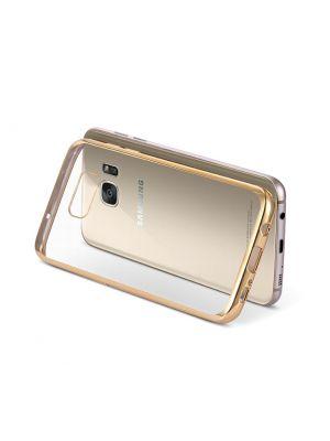 Coque silicone transparente avec bumper gold pour Samung Galaxy S7 Edge