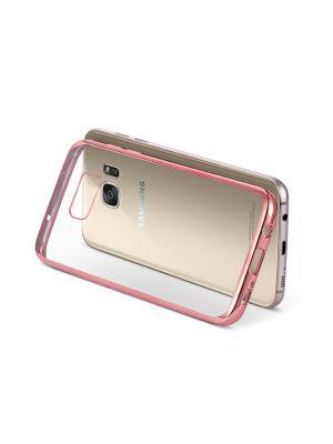 Coque silicone transparente avec bumper rose gold pour Samung Galaxy S7 Edge