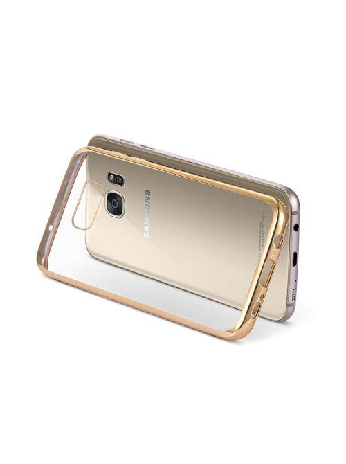 Coque silicone transparente avec bumper gold pour Samsung Galaxy S6 Edge