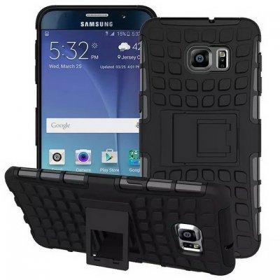 Coque anti-choc noire avec stand pour Samsung Galaxy S6