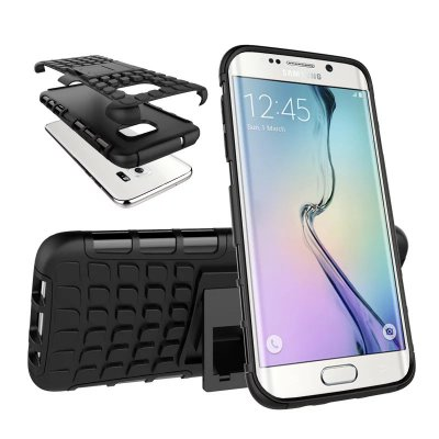 Coque anti-choc noire avec stand pour Samsung Galaxy S7 Edge