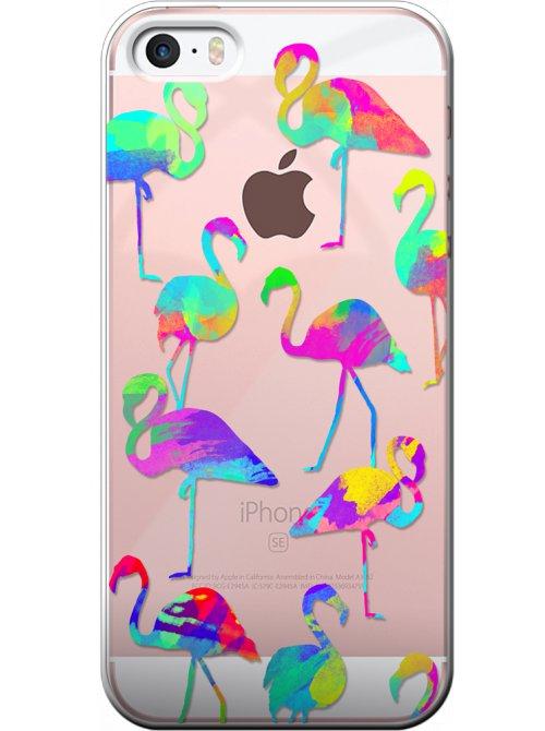 coque rigide transparente flamants roses multicolore pour iphone 5 5s se