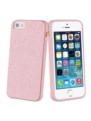 Muvit Life Bling Glitter Coque Pailletee Rose Apple Iphone 5s/se