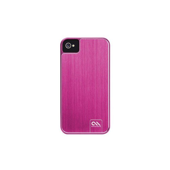 Casemate coque arriere rose aluminium brosse pour iphone 4 / 4S