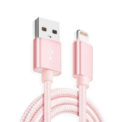 Câble USB Lightning nylon rose pour iPhone 5/5C/5S/6/6S/6+/6S+ & iPad 4/Mini/Air