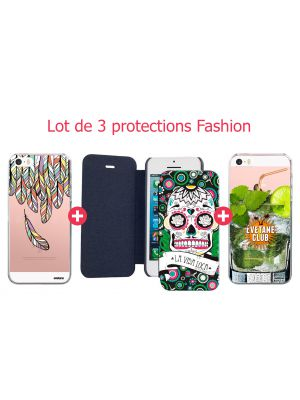 Lot de 3 protections Fashion pour iPhone 5/5S/SE