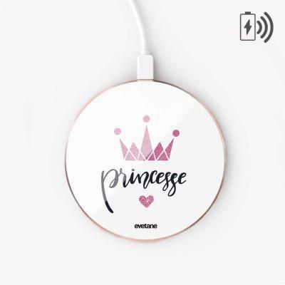 Chargeur Induction Princesse Couronne Ecriture Tendance et Design Evetane