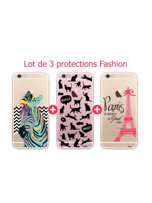 Lot de 3 coques transparentes Fashion pour iPhone 6/6S