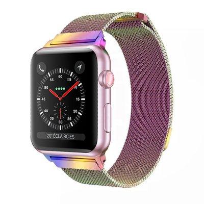 Bracelet 38-40 mm compatible avec Apple Watch métalisé rose arc en ciel   (Vendu sans la montre)