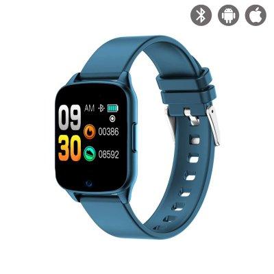 Montre connectée multi-sport avec bracelet silicone Bleue