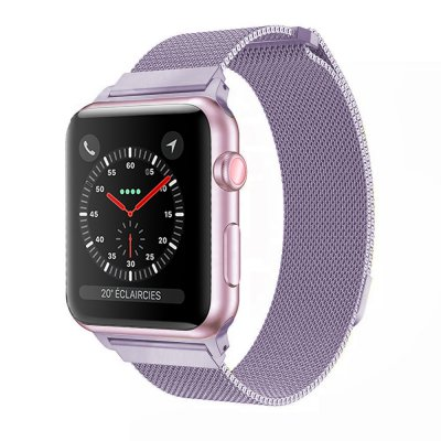 Bracelet 38-40 mm compatible avec Apple Watch métalisé parme   (Vendu sans la montre)