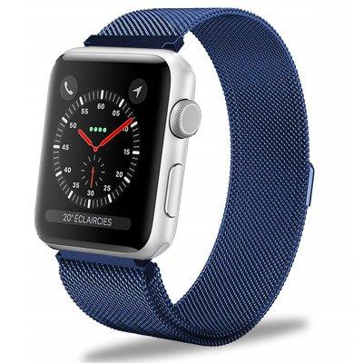 Bracelet 42-44 mm compatible avec Apple Watch métalisé bleu marine (Vendu sans la montre)