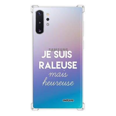 Coque Samsung Galaxy Note 10 Plus anti-choc souple avec angles renforcés transparente Raleuse mais heureuse blanc Tendance Evetane