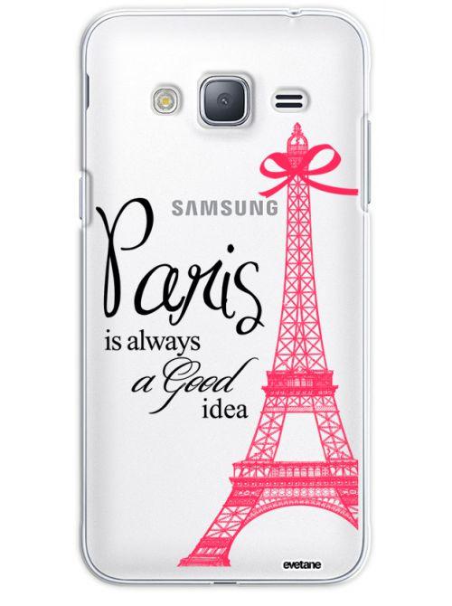 Coque Samsung J3 2016 rigide transparente Paris is always a good idea Dessin Evetane - Coquediscount