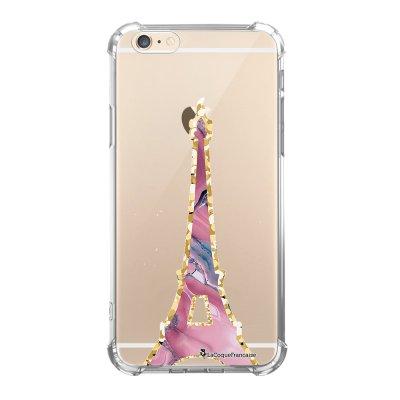 Coque iPhone 6 Plus / 6S Plus anti-choc souple avec angles renforcés transparente Tour Eiffel Marbre Rose La Coque Francaise
