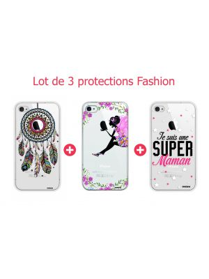 Lot de 3 protections Fashion pour iPhone 4/4S