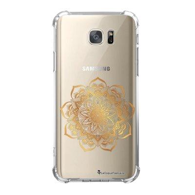 Coque Samsung Galaxy S7 anti-choc souple avec angles renforcés Mandala Or Tendance La Coque Francaise