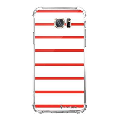 Coque Samsung Galaxy S7 anti-choc souple avec angles renforcés Marinière Rouge Tendance La Coque Francaise