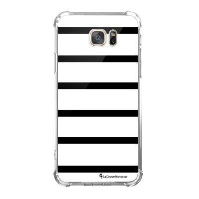 Coque Samsung Galaxy S7 anti-choc souple avec angles renforcés Marinière Noire Tendance La Coque Francaise