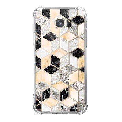 Coque Samsung Galaxy S7 anti-choc souple avec angles renforcés Carrés marbre Tendance La Coque Francaise