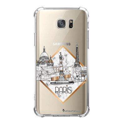 Coque Samsung Galaxy S7 anti-choc souple avec angles renforcés Paris Marbre Tendance La Coque Francaise