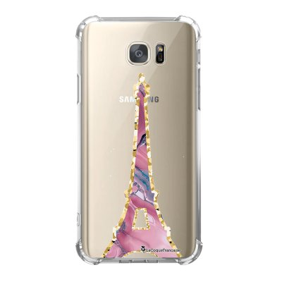 Coque Samsung Galaxy S7 anti-choc souple avec angles renforcés Tour Eiffel Marbre Rose Tendance La Coque Francaise