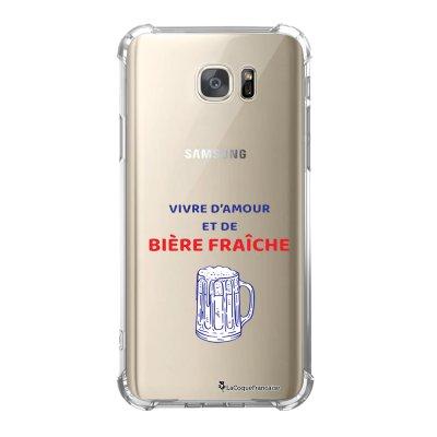 Coque Samsung Galaxy S7 anti-choc souple avec angles renforcés Vivre amour et Biere Tendance La Coque Francaise
