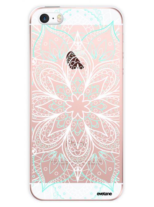 coque rigide transparent mandala turquoise pour iphone se 5s 5