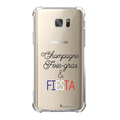 Coque Samsung Galaxy S7 anti-choc souple avec angles renforcés Champ et Fiesta Blanc Tendance La Coque Francaise