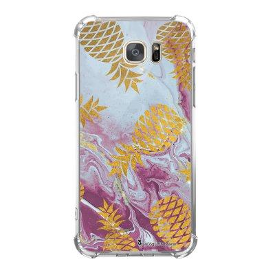 Coque Samsung Galaxy S7 anti-choc souple avec angles renforcés Marbre Ananas Or Tendance La Coque Francaise