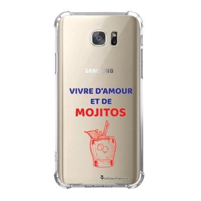 Coque Samsung Galaxy S7 anti-choc souple avec angles renforcés Vivre D'amour et de Mojitos Tendance La Coque Francaise