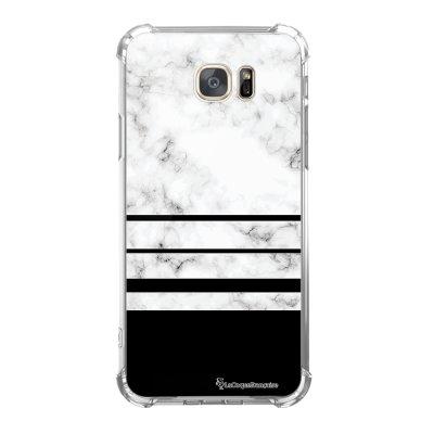 Coque Samsung Galaxy S7 anti-choc souple avec angles renforcés Trio marbre Blanc Tendance La Coque Francaise
