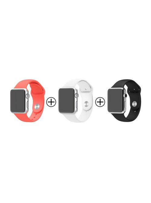 Lot de 3 bracelets en silicone pour Apple Watch 38mm