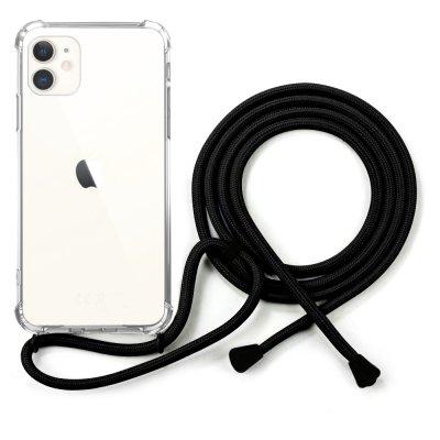 Coque compatible iPhone 11 anti-choc silicone transparente avec cordon noir