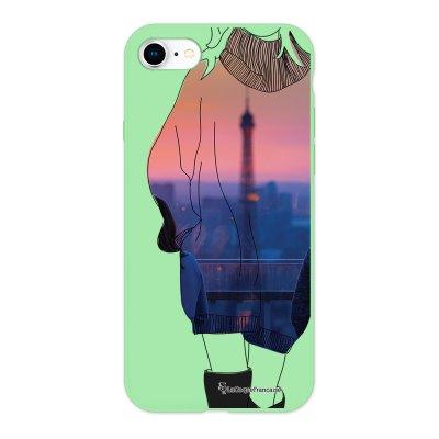 Coque iPhone 7/8 Silicone Liquide Douce vert pâle A la mode de Paris Ecriture Tendance et Design La Coque Francaise