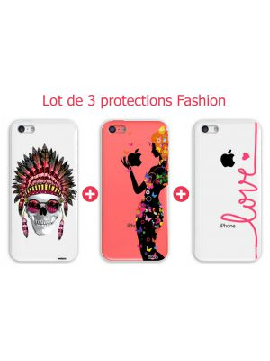Lot de 3 protections Fashion pour iPhone 5C