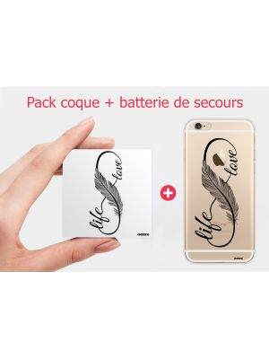 Pack essentiel motif Love Life iPhone 6/6S : Batterie de secours 2600mAh + Coque transparente