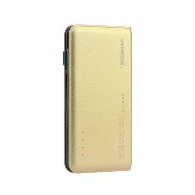 Batterie externe effet cuir grainé doré chargement rapide 10000 mAh