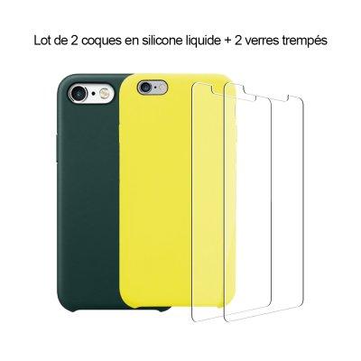 Lot 2 Coques iPhone 6/6S silicone liquide Vert Forêt et Jaune Fluo + 2 vitres en verre trempé de protection