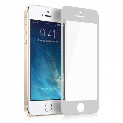 Vitre protectrice avant en verre trempé Blanche pour iPhone 5/5S/SE