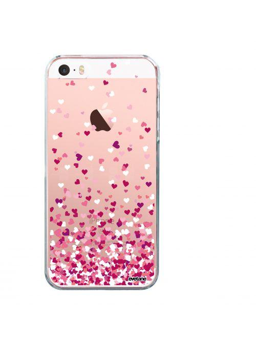 coque rigide transparent confettis de coeur pour iphone se 5s 5