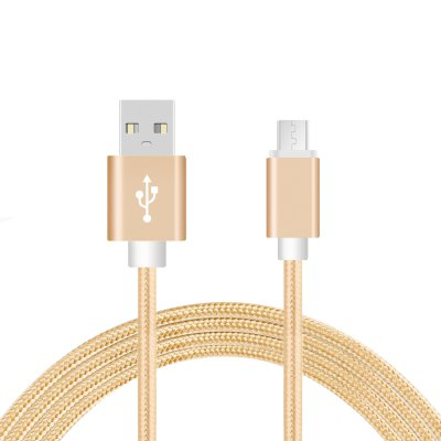 Câble USB Micro USB nylon doré 2m pour Samsung & Wiko