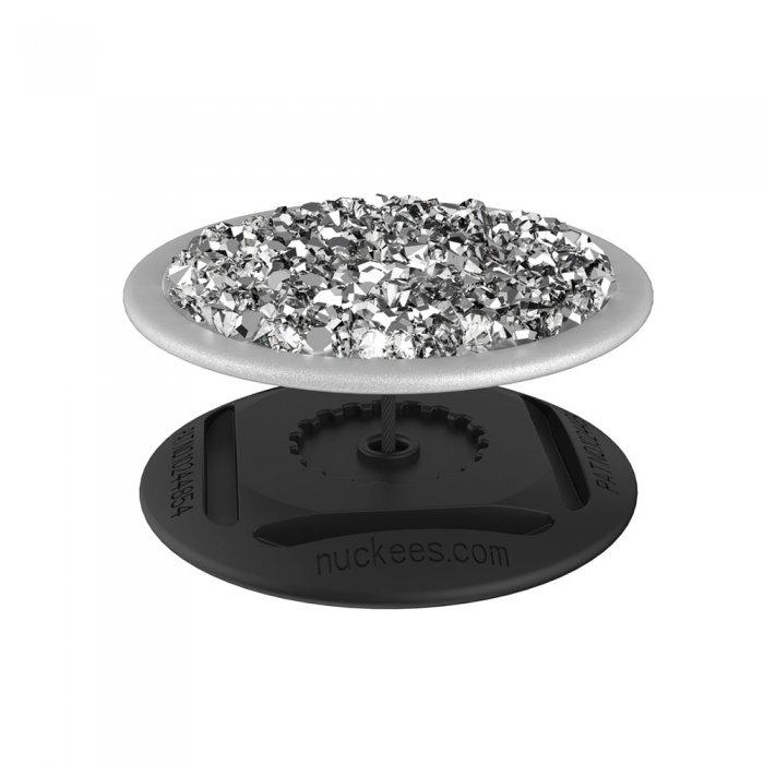 Ring Poignée et support universel de téléphone strass blanc