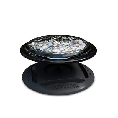 Ring Poignée et support universel de téléphone Paillettes liquides diamant noir
