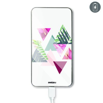Batterie verre trempé 8000mAh Triangles Jungle Motif Ecriture Tendance Evetane