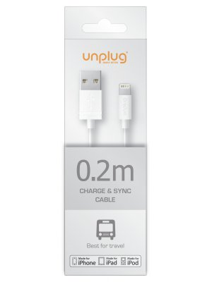 Unplug Cable Lightning Mfi Blanc 0.2m**