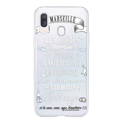 Coque Samsung Galaxy A20e 360 intégrale transparente Quartiers de Marseille blanc Ecriture Tendance Design La Coque Francaise