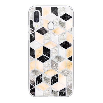 Coque Samsung Galaxy A20e 360 intégrale transparente Carrés marbre Ecriture Tendance Design La Coque Francaise