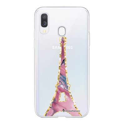 Coque Samsung Galaxy A20e 360 intégrale transparente Tour Eiffel Marbre Rose Ecriture Tendance Design La Coque Francaise