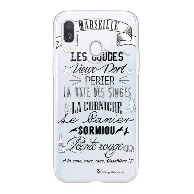 Coque Samsung Galaxy A20e 360 intégrale transparente Quartiers de Marseille Ecriture Tendance Design La Coque Francaise